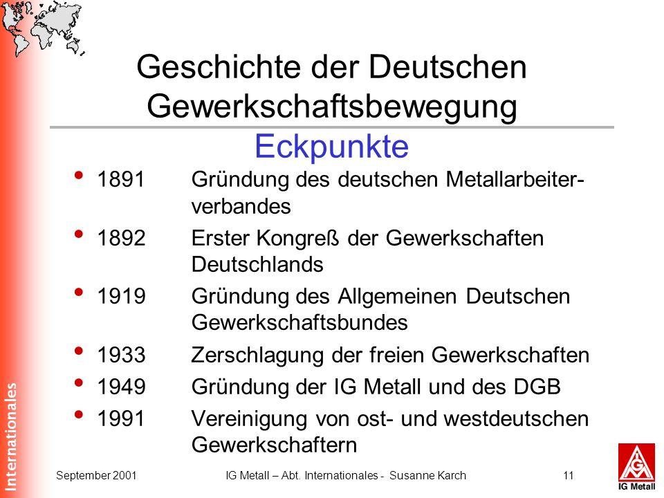 Geschichte der Deutschen Gewerkschaftsbewegung Eckpunkte