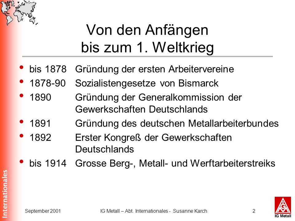 Von den Anfängen bis zum 1. Weltkrieg