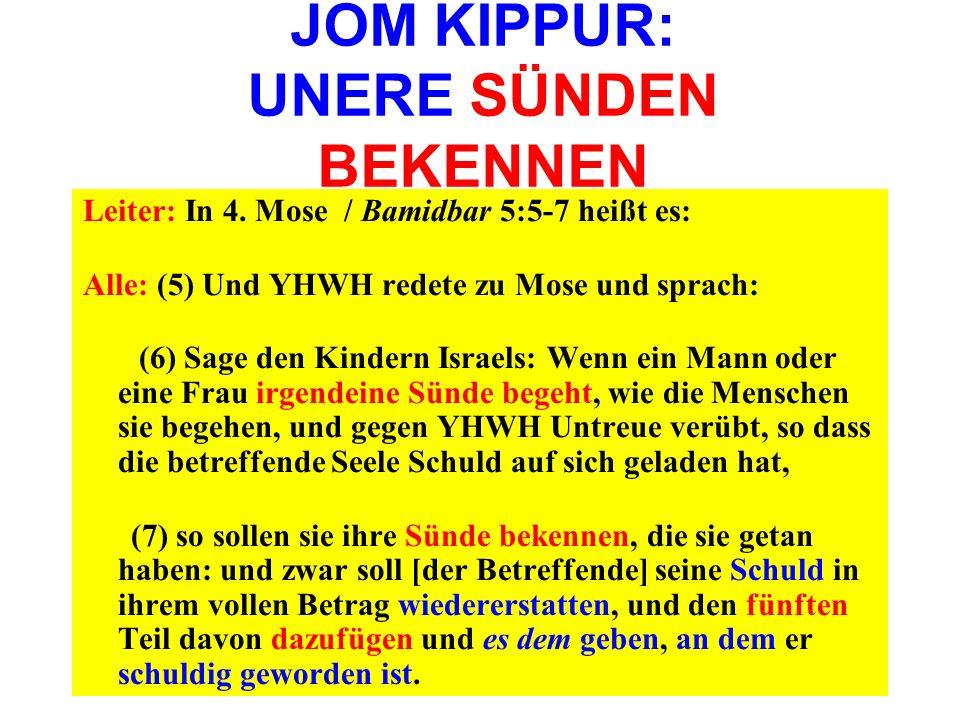 JOM KIPPUR: UNERE SÜNDEN BEKENNEN