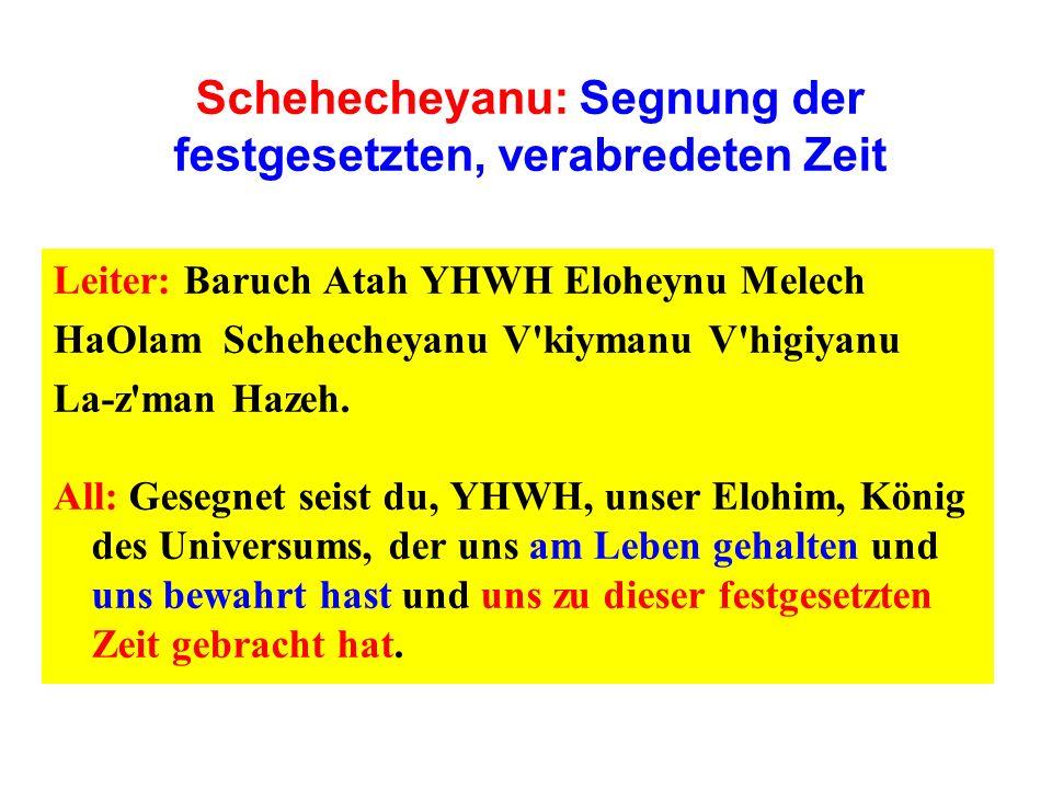 Schehecheyanu: Segnung der festgesetzten, verabredeten Zeit