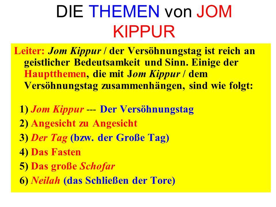 DIE THEMEN von JOM KIPPUR