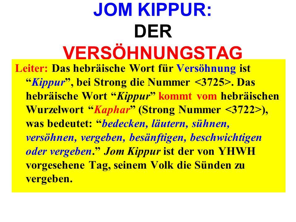 JOM KIPPUR: DER VERSÖHNUNGSTAG