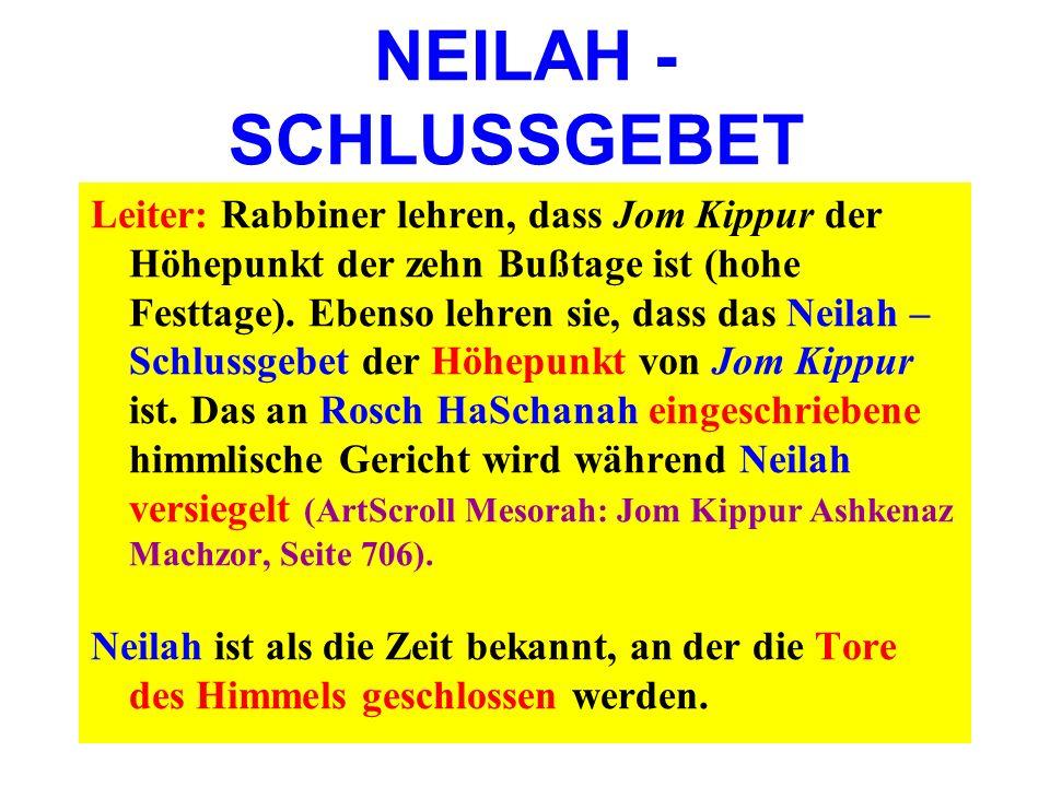 NEILAH - SCHLUSSGEBET