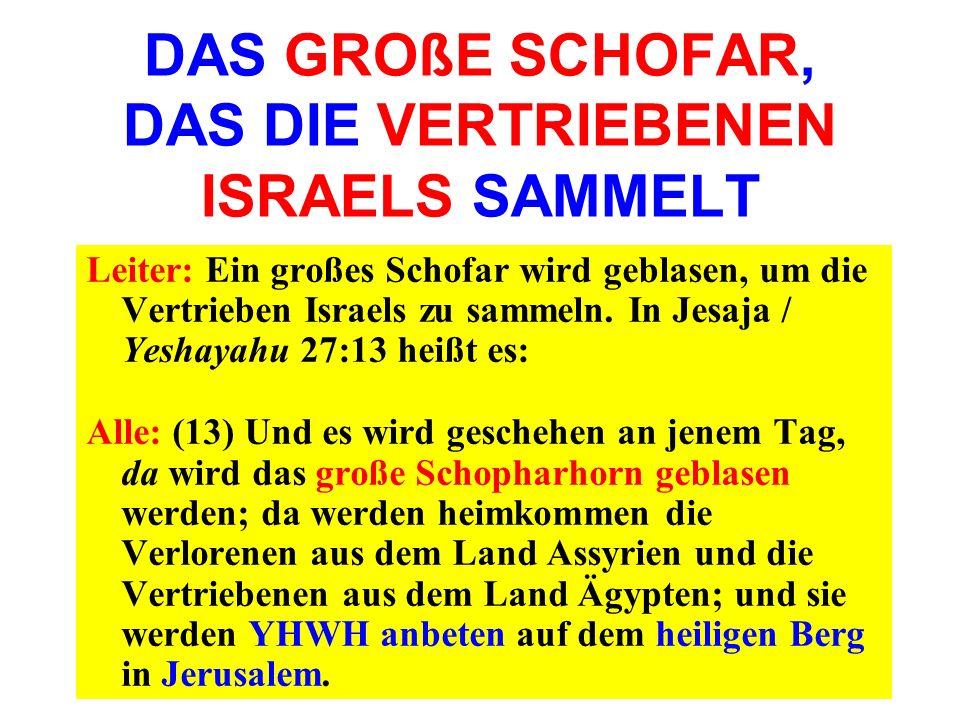 DAS GROßE SCHOFAR, DAS DIE VERTRIEBENEN ISRAELS SAMMELT