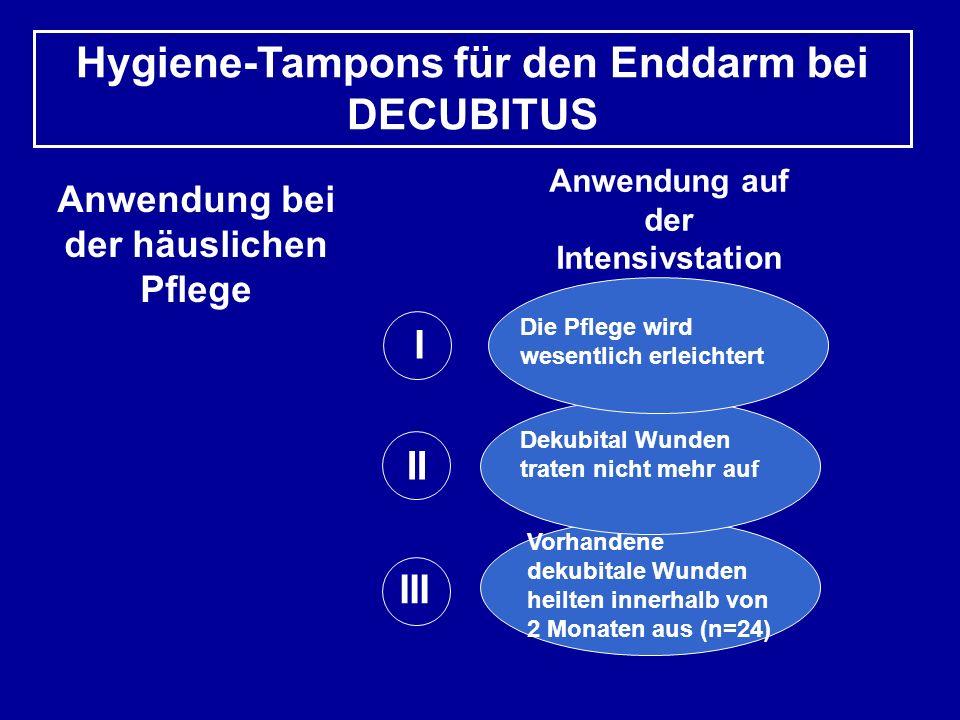 Hygiene-Tampons für den Enddarm bei DECUBITUS
