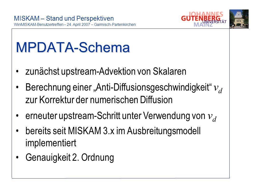 MPDATA-Schema zunächst upstream-Advektion von Skalaren