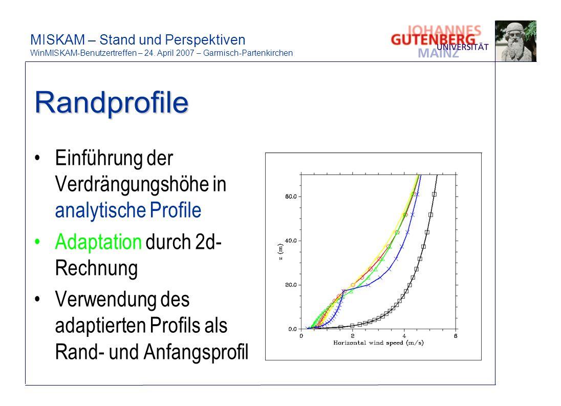 Randprofile Einführung der Verdrängungshöhe in analytische Profile