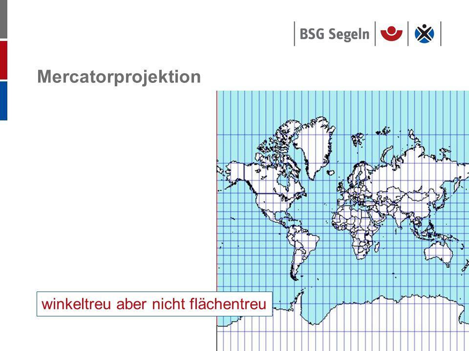 Mercatorprojektion winkeltreu aber nicht flächentreu
