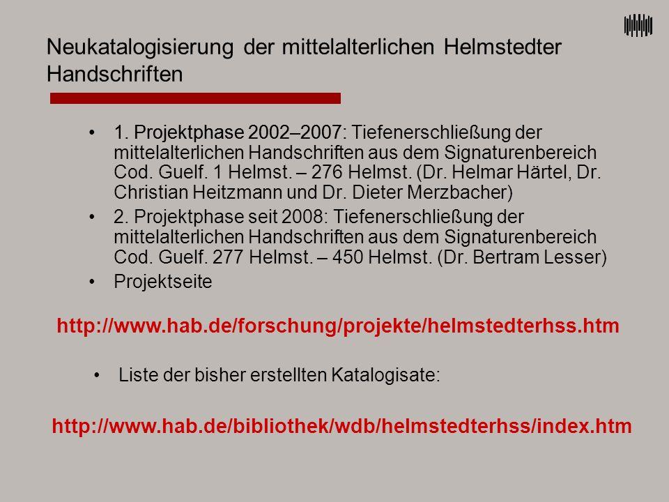 Neukatalogisierung der mittelalterlichen Helmstedter Handschriften