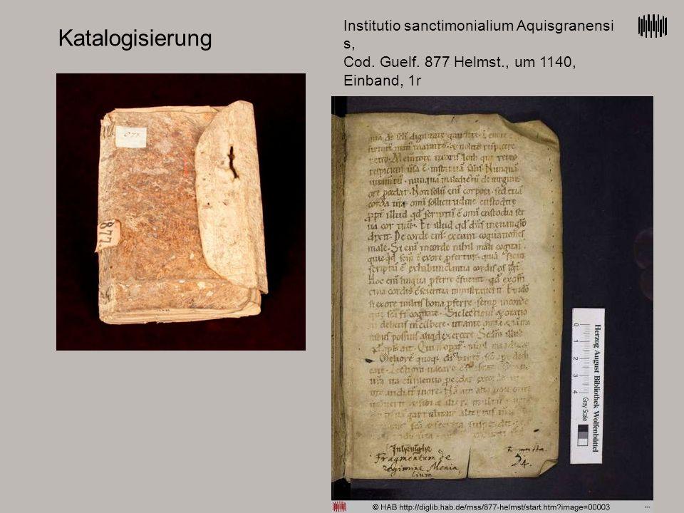 Katalogisierung Institutio sanctimonialium Aquisgranensi