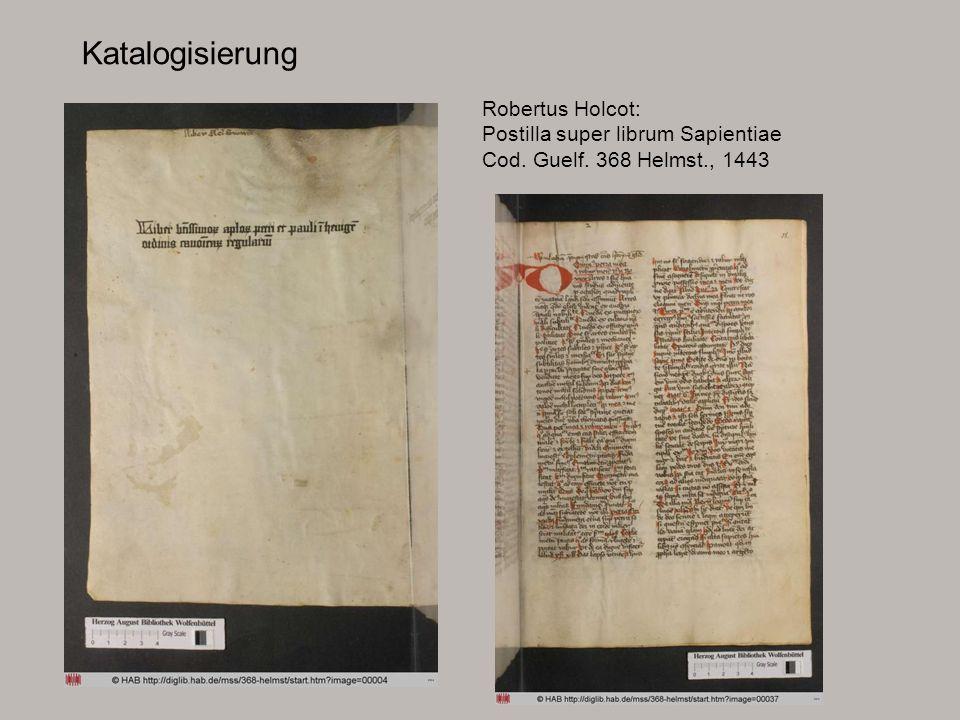Katalogisierung Robertus Holcot: