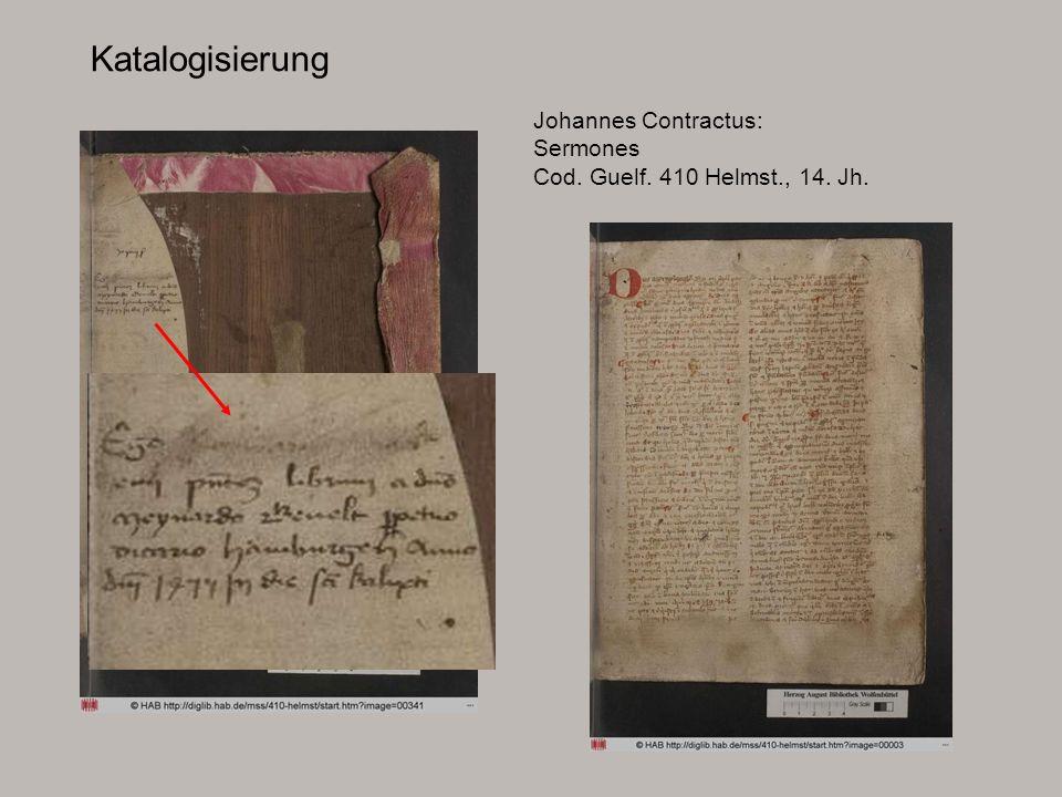 Katalogisierung Johannes Contractus: