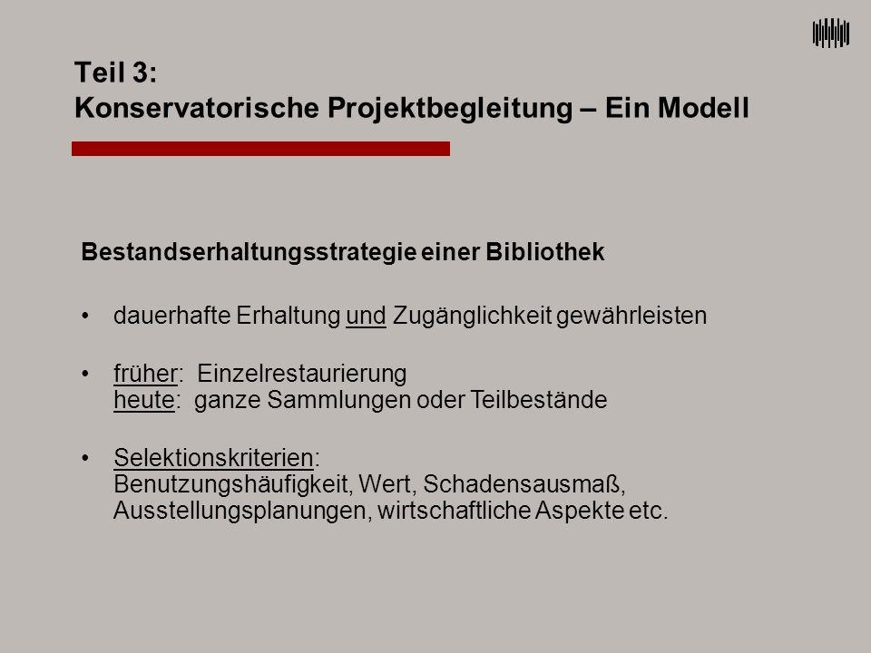 Teil 3: Konservatorische Projektbegleitung – Ein Modell