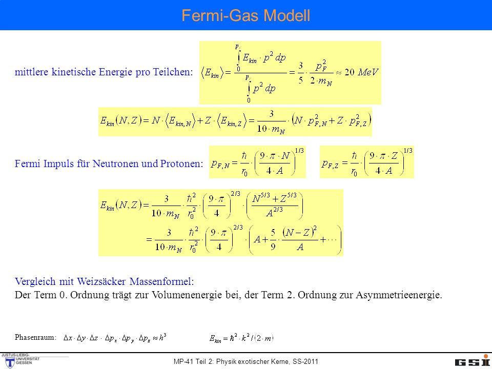 Fermi-Gas Modell mittlere kinetische Energie pro Teilchen: