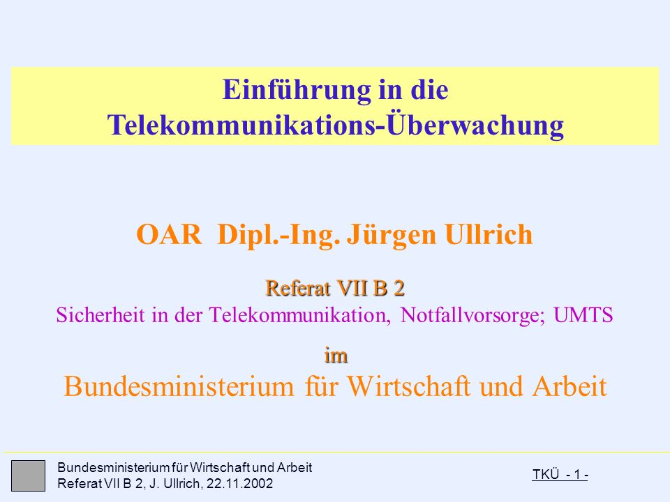 Einführung in die Telekommunikations-Überwachung