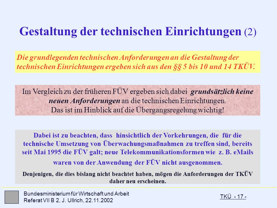 Gestaltung der technischen Einrichtungen (2)