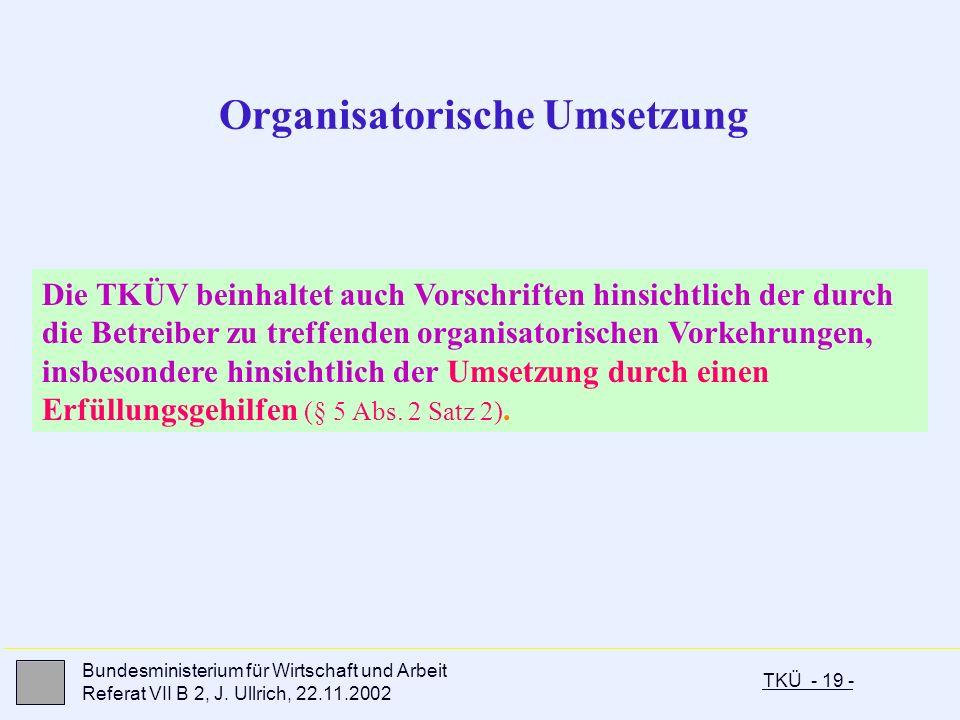 Organisatorische Umsetzung