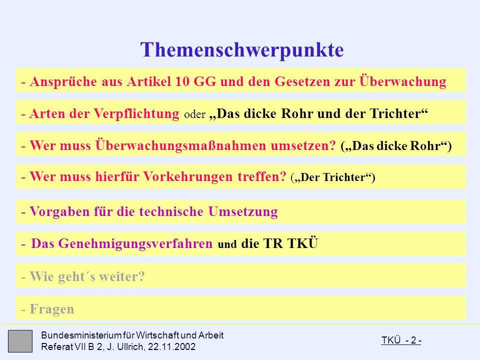 """Themenschwerpunkte - Ansprüche aus Artikel 10 GG und den Gesetzen zur Überwachung. - Arten der Verpflichtung oder """"Das dicke Rohr und der Trichter"""