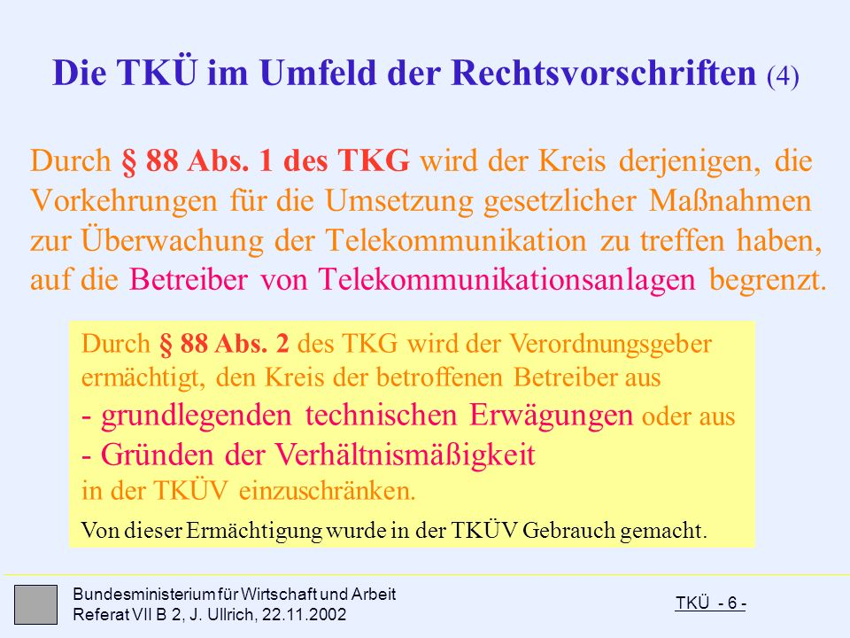 Die TKÜ im Umfeld der Rechtsvorschriften (4)