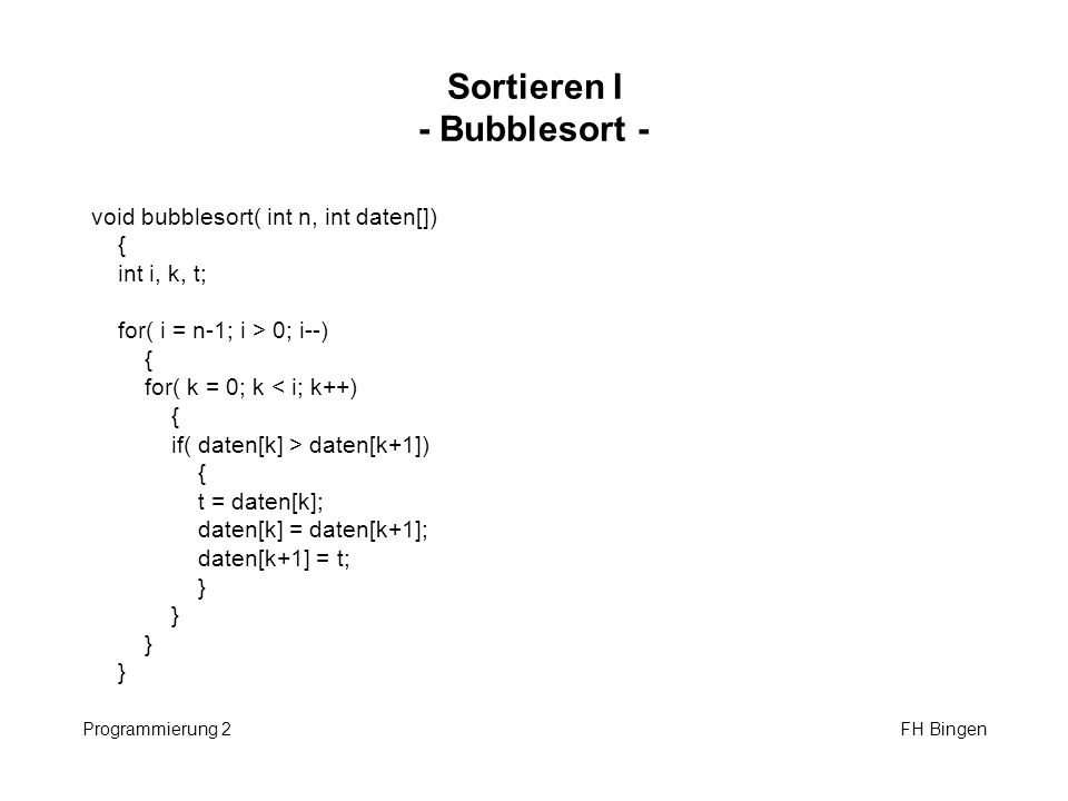 Sortieren I - Bubblesort -