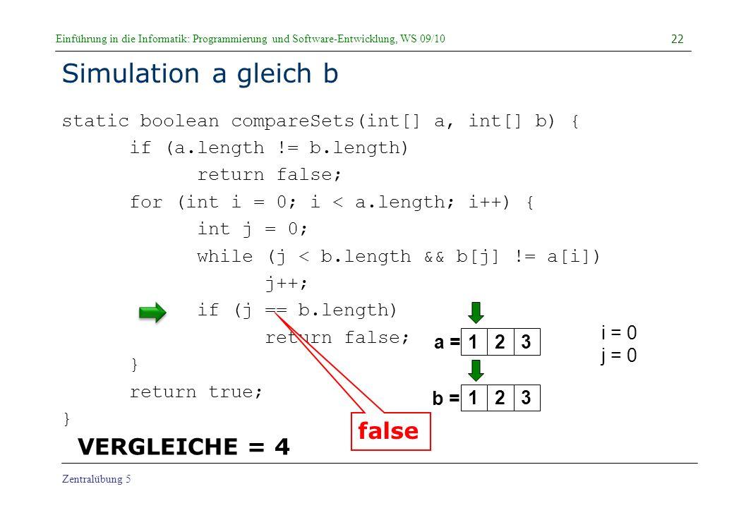 Simulation a gleich b false VERGLEICHE = 4