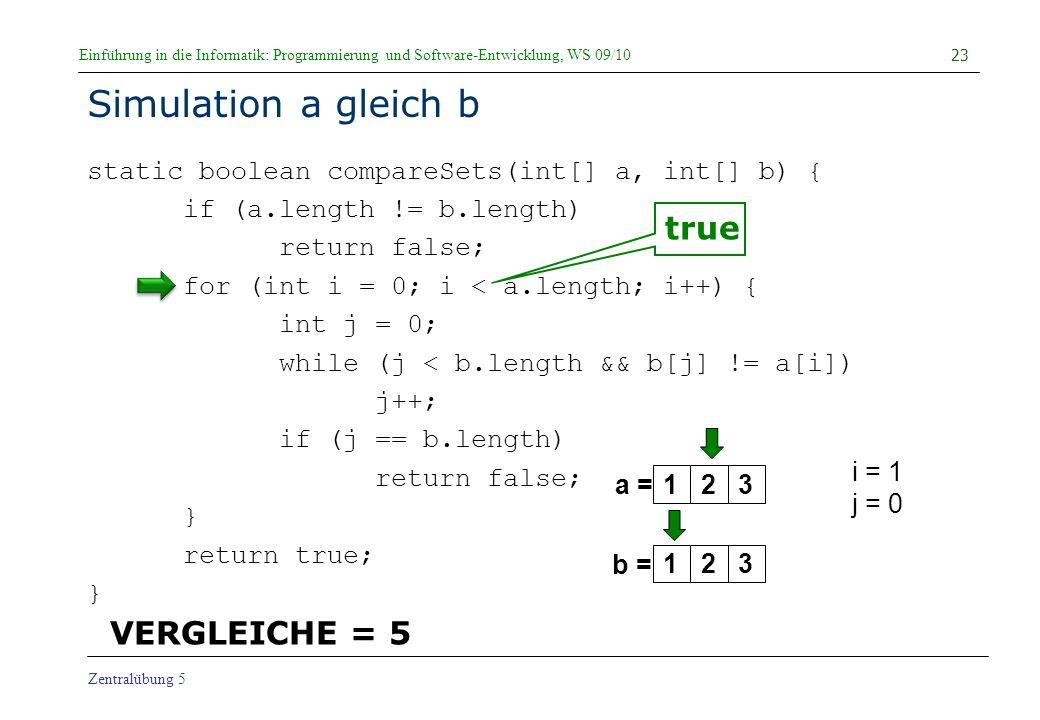 Simulation a gleich b true VERGLEICHE = 5