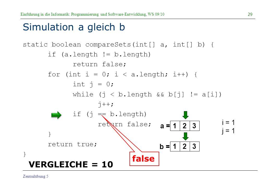 Simulation a gleich b false VERGLEICHE = 10
