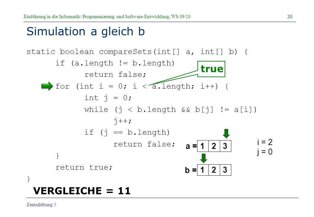 Simulation a gleich b true VERGLEICHE = 11
