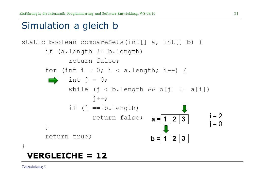 Simulation a gleich b VERGLEICHE = 12