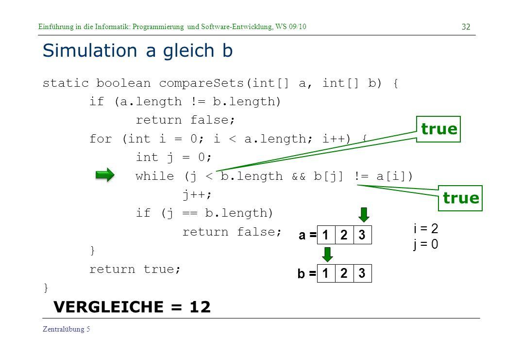 Simulation a gleich b true true VERGLEICHE = 12