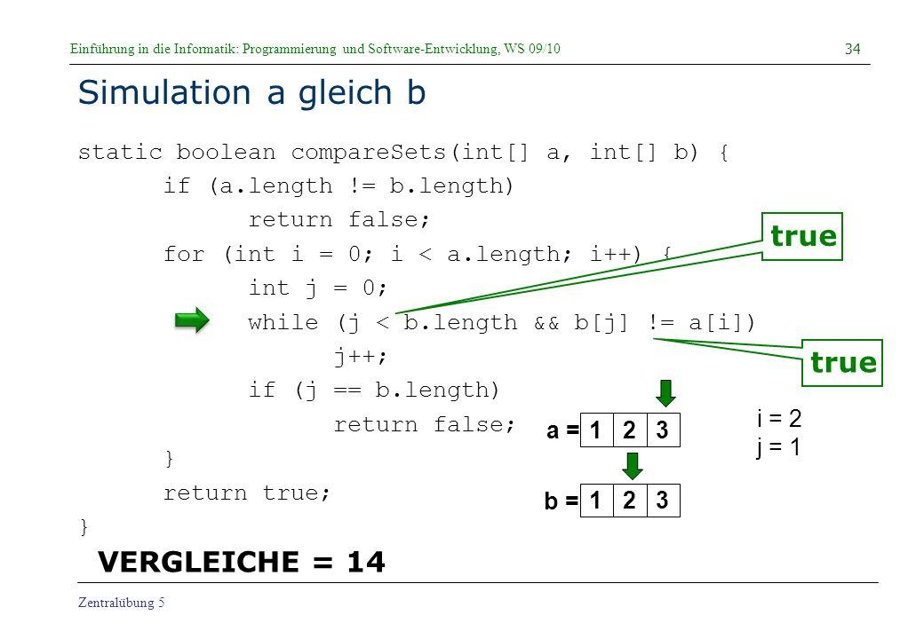 Simulation a gleich b true true VERGLEICHE = 14