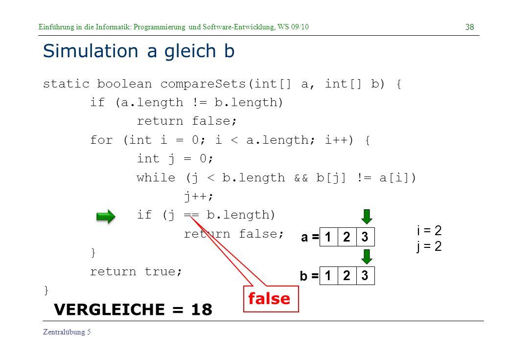 Simulation a gleich b false VERGLEICHE = 18
