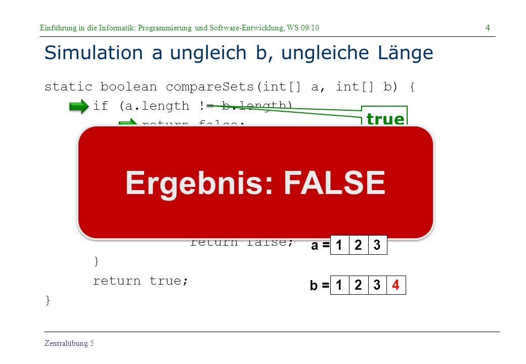 Simulation a ungleich b, ungleiche Länge