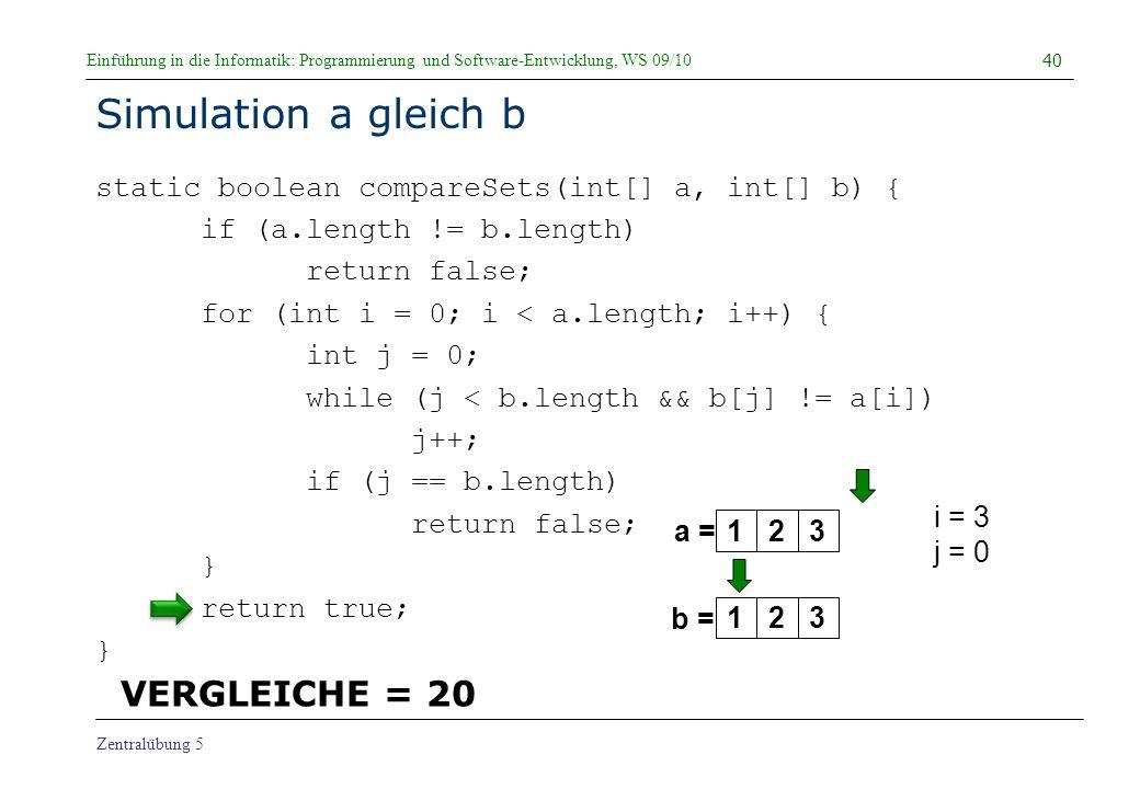 Simulation a gleich b VERGLEICHE = 20