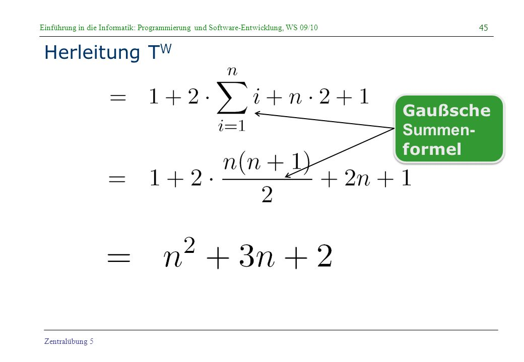 Herleitung TW Gaußsche Summen- formel