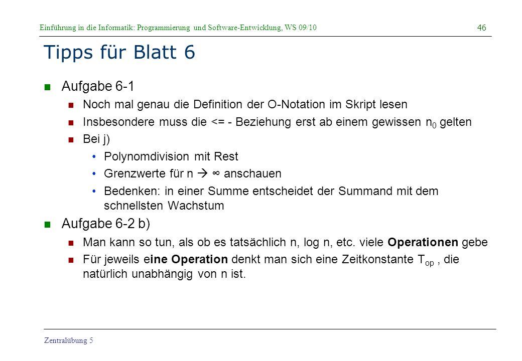 Tipps für Blatt 6 Aufgabe 6-1 Aufgabe 6-2 b)