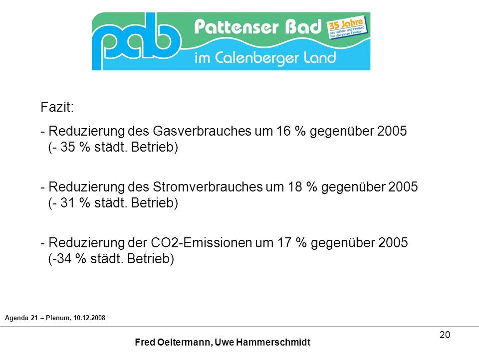 Fazit: Reduzierung des Gasverbrauches um 16 % gegenüber 2005 (- 35 % städt. Betrieb)
