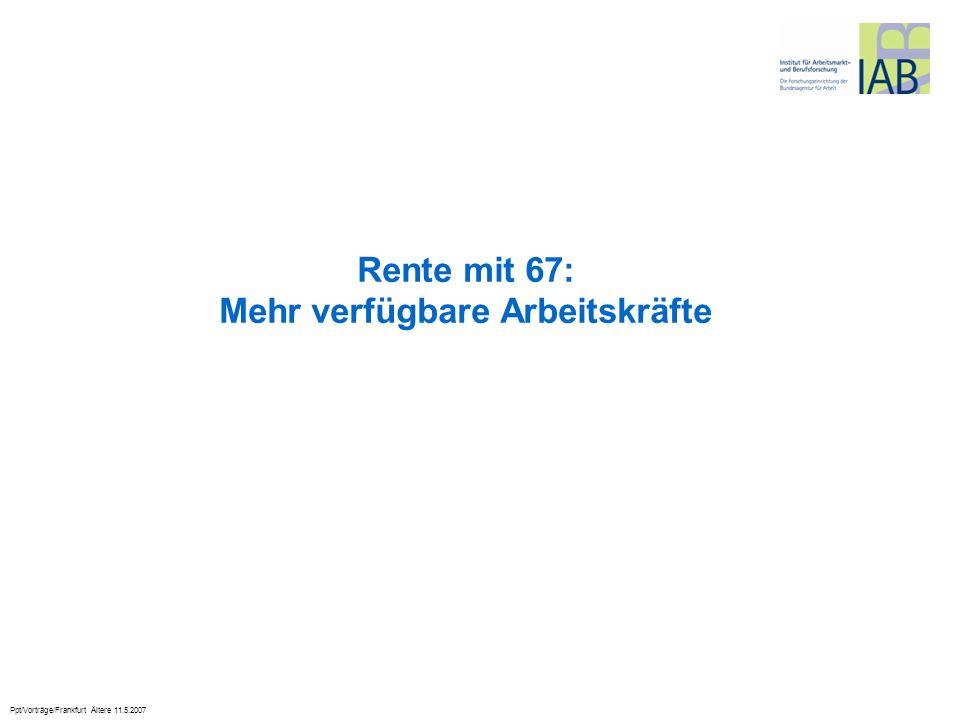 Rente mit 67: Mehr verfügbare Arbeitskräfte