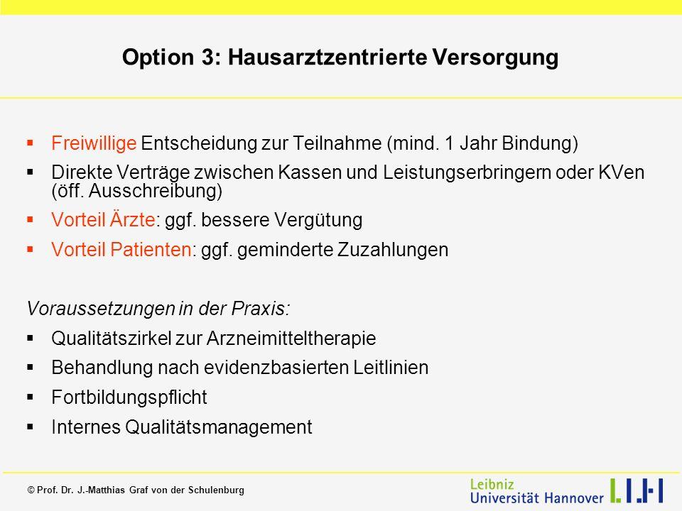 Option 3: Hausarztzentrierte Versorgung