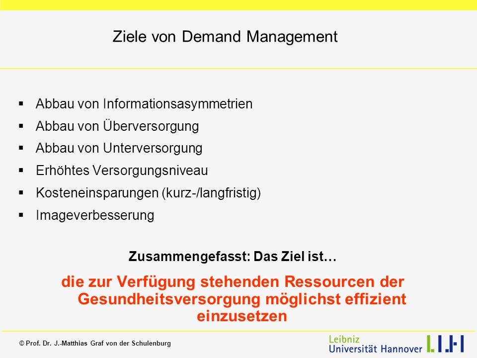 Ziele von Demand Management