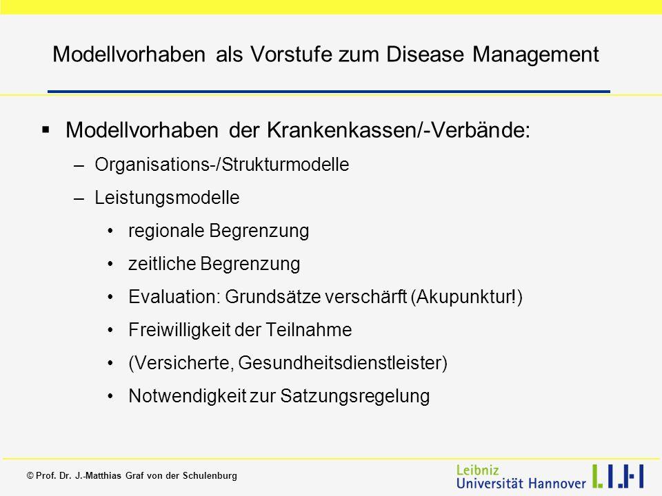 Modellvorhaben als Vorstufe zum Disease Management