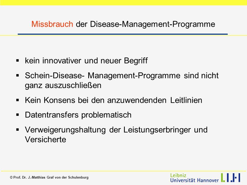 Missbrauch der Disease-Management-Programme