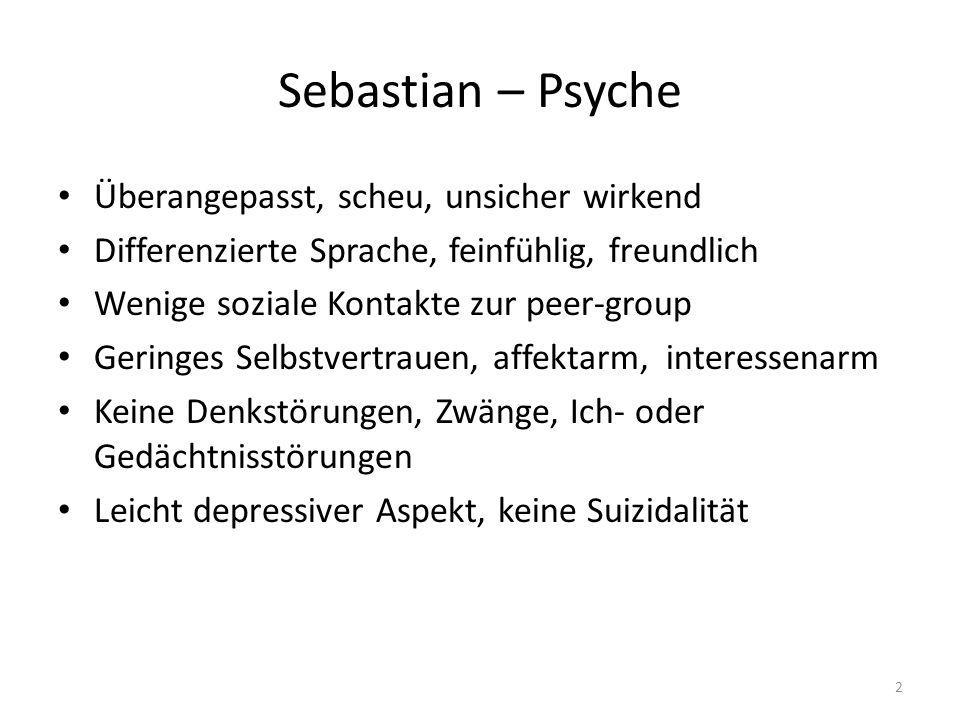 Sebastian – Psyche Überangepasst, scheu, unsicher wirkend