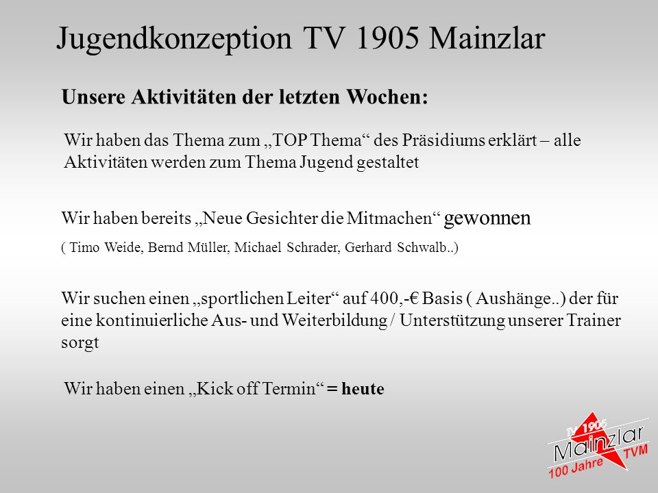 Jugendkonzeption TV 1905 Mainzlar