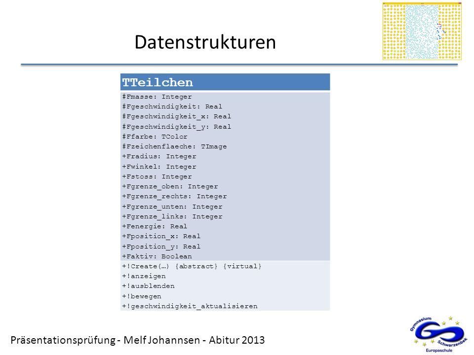 Datenstrukturen TTeilchen SEITE 13 Stichpunkte Datenstruktur: