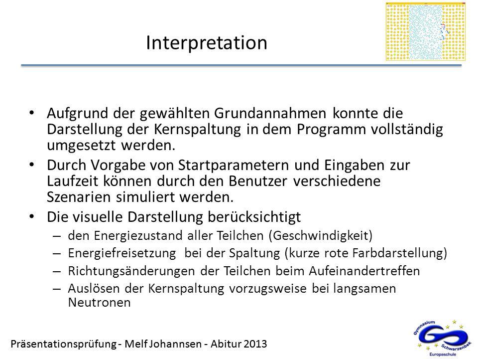 InterpretationAufgrund der gewählten Grundannahmen konnte die Darstellung der Kernspaltung in dem Programm vollständig umgesetzt werden.