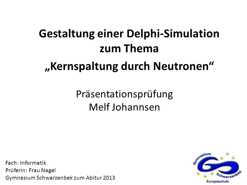 Präsentationsprüfung Melf Johannsen