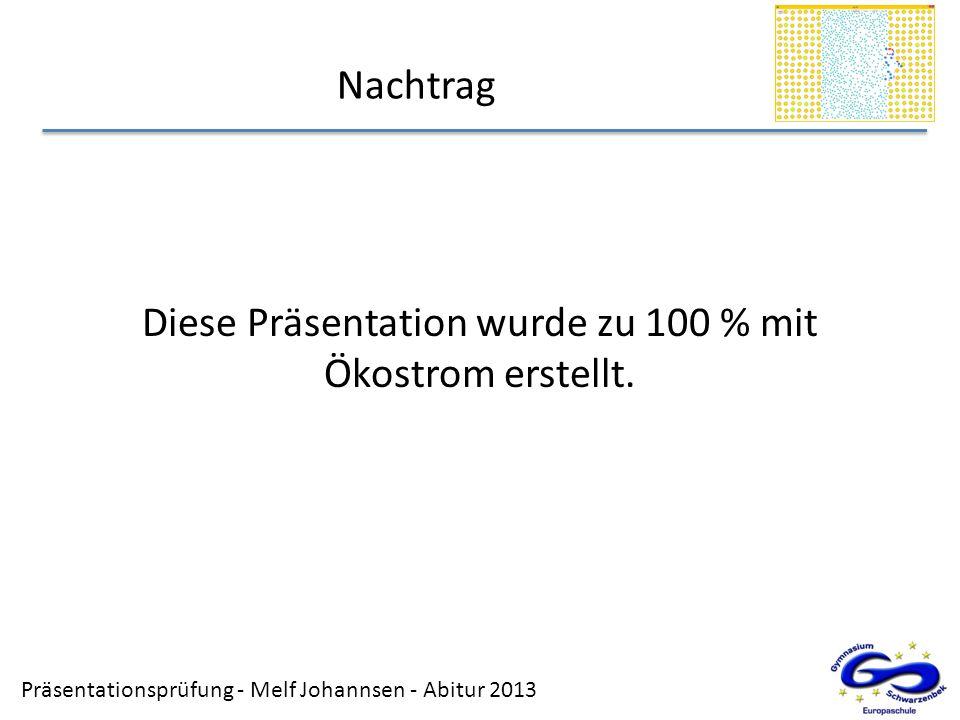 Diese Präsentation wurde zu 100 % mit Ökostrom erstellt.