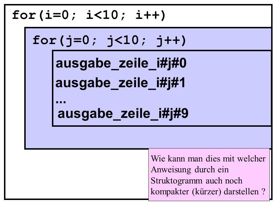 for(i=0; i<10; i++) for(j=0; j<10; j++) ausgabe_zeile_i#j#0