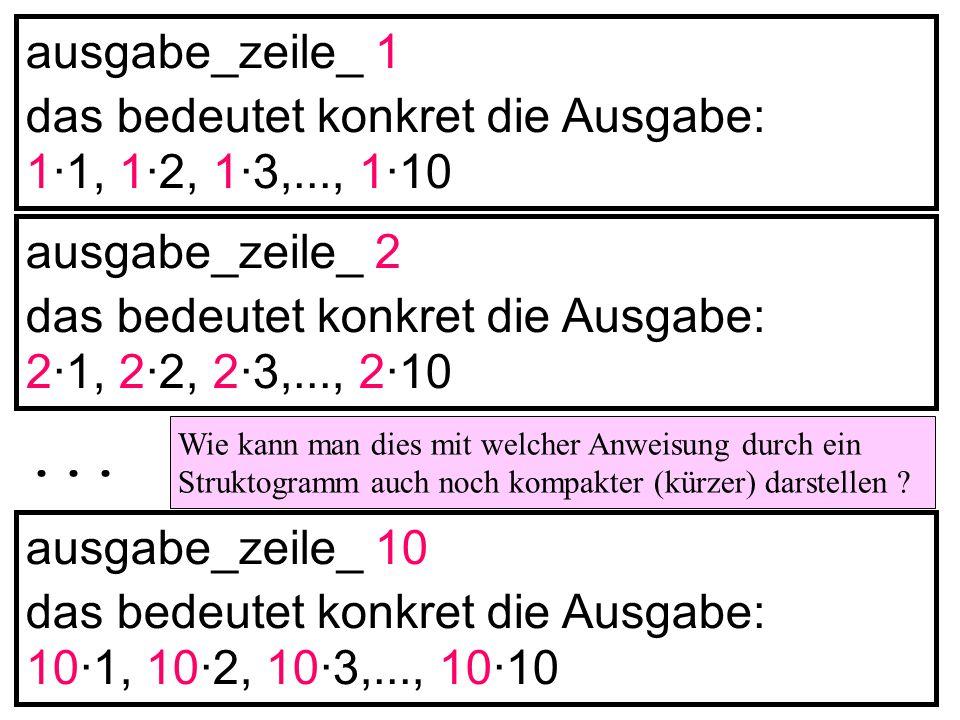... ausgabe_zeile_ 1 das bedeutet konkret die Ausgabe: